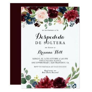 autumn rustic calligraphy spanish bridal shower invitation