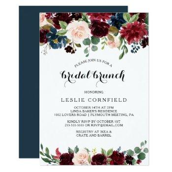 autumn rustic dazzling burgundy bridal brunch invitation