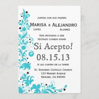 azul y blanco invitacion de boda en español invitation