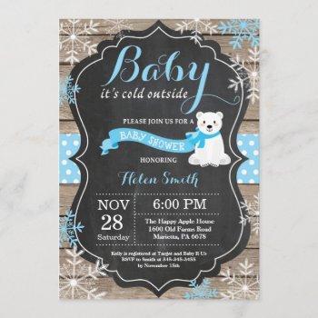 baby its cold outside polar bear boy baby shower invitation