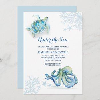 baby shower blue under the sea coastal watercolor invitation