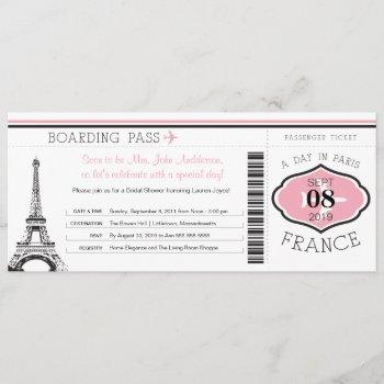baby shower boarding pass to paris invitation