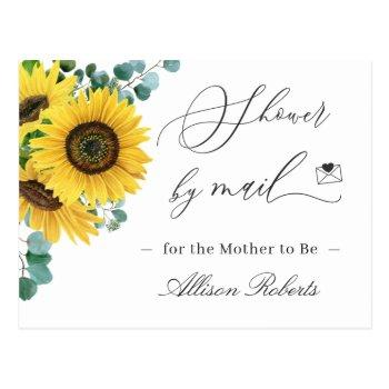 baby shower by mail elegant sunflowers eucalyptus postcard
