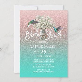 baby's breath hummingbird rose gold bridal shower invitation