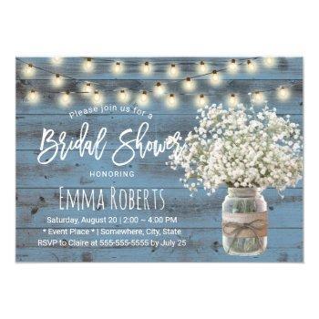 baby's breath jar dusty blue wood bridal shower invitation