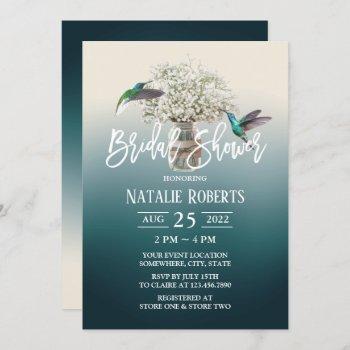 baby's breath & love birds teal bridal shower invitation
