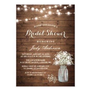 Small Baby's Breath Mason Jar Rustic Wood Bridal Shower Invitation Front View