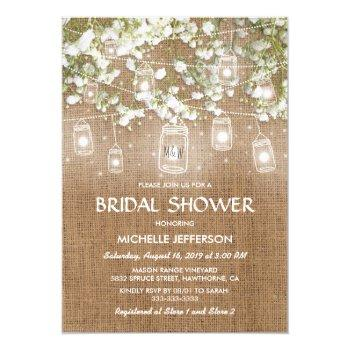 baby's breath rustic burlap wedding bridal shower invitation