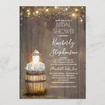 baby's breath rustic lantern country bridal shower invitation