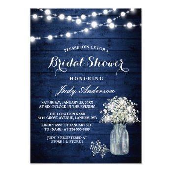 babys breath rustic navy blue lights bridal shower invitation