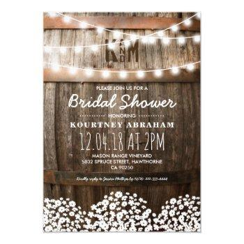 baby's breath rustic wood bridal shower invitation