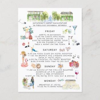 bachelorette weekend itinerary | savannah, georgia invitation postcard
