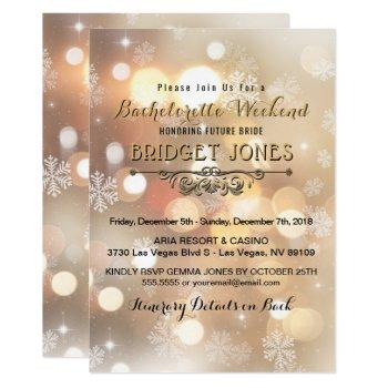 bachelorette weekend party itinerary snowflakes invitation