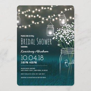 backyard mason jar baby breath bridal shower invitation