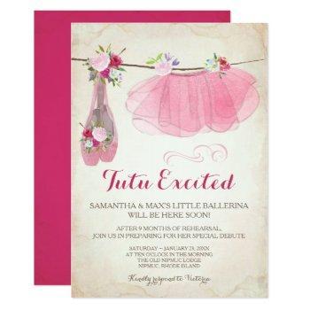 ballerina baby shower invitation girl, pink