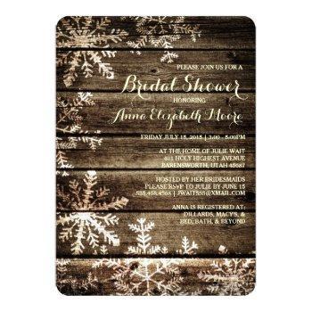 barn wood snowflakes rustic winter bridal shower invitation