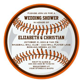 baseball ball player wedding shower brown orange invitation