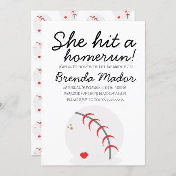 baseball homerun sports lover bridal shower invitation