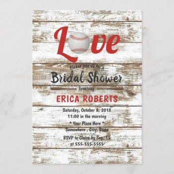 baseball love rustic sports wedding bridal shower invitation