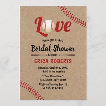 baseball sports wedding rustic kraft bridal shower invitation