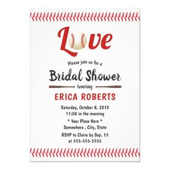 baseball theme sports wedding bridal shower invitation