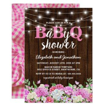 bbq baby couples shower   girl babyq barbecue invitation
