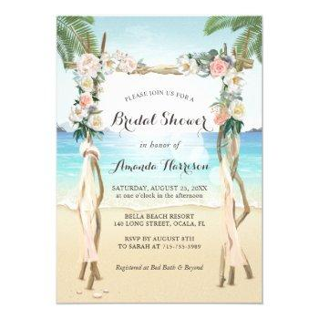 beach arbor arch floral tropical bridal shower invitation