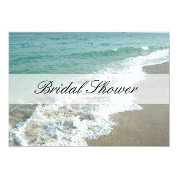 beach bridal shower invitations, aqua blue/white invitation