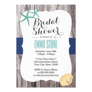 beach bridal shower teal starfish rustic wood invitation