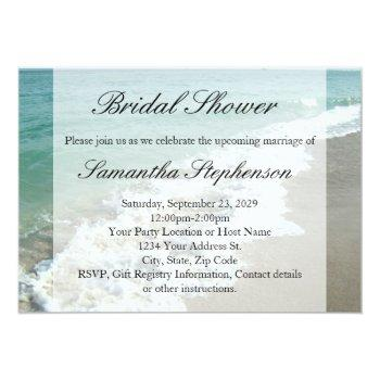 beach bridal shower, white ocean surf invitation