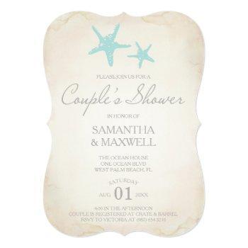 beach couple's shower invitation - starfish