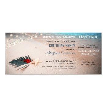 beach destination party boarding pass ticket invitation