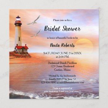 beach lighthouse bridal shower invitation