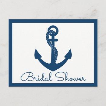 beach navy blue anchor nautical bridal shower invitation postcard