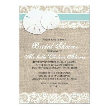 beach rustic burlap lace bridal shower invitation