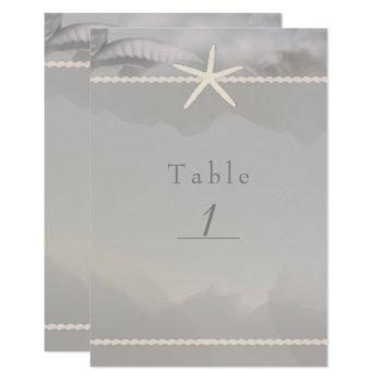 beach starfish grey chic table number card
