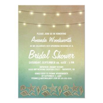 beach starfish seashell bridal shower invitations