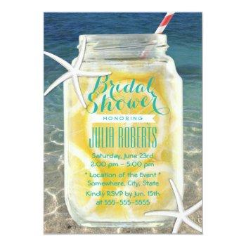 beach theme mason jar & starfish bridal shower invitation