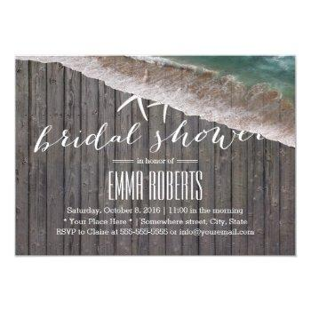 beach theme starfish wood background bridal shower invitation