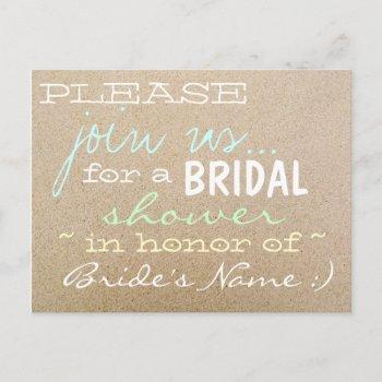 beach wedding/bridal shower invitations in sand