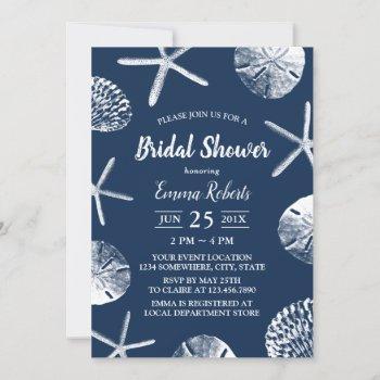 beach wedding navy blue seashells bridal shower invitation