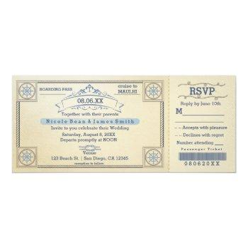 beach wedding vintage boarding ticket invitations