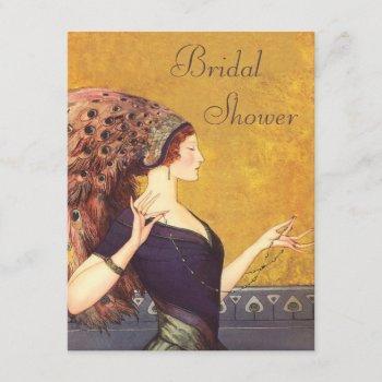 beautiful art deco peacock flapper bridal shower invitation
