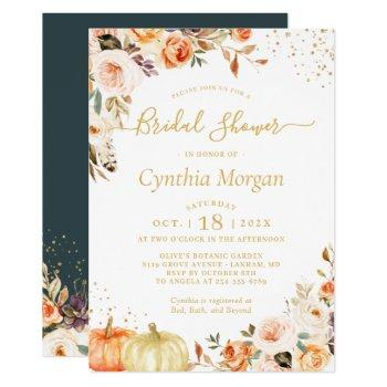 beautiful autumn gold floral fall bridal shower invitation