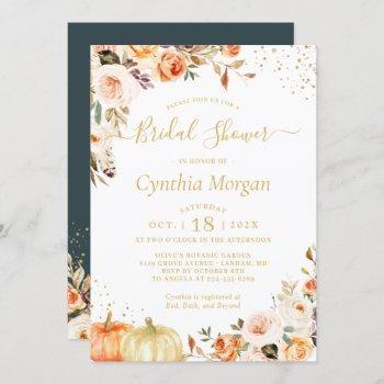 beautiful autumn gold floral fall bridal shower invitation