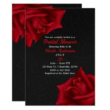 beautiful black texture red roses bridal shower invitation
