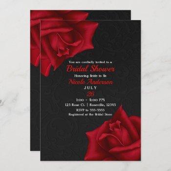 beautiful black texture red roses bridal shower invitation