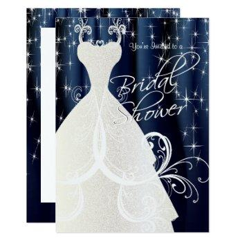 beautiful blue bridal shower with sparkling stars invitation