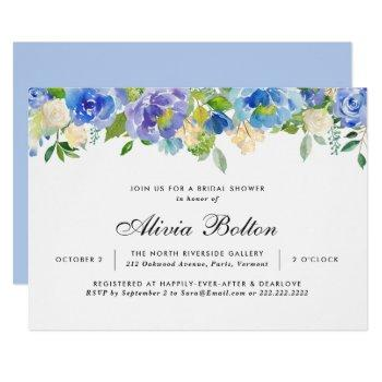 beautiful blue floral watercolor bridal shower invitation