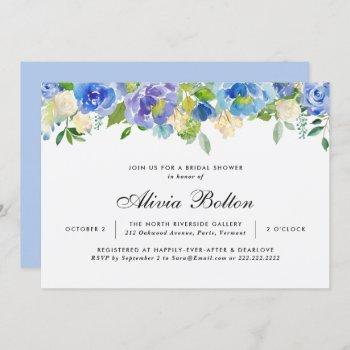 beautiful blue floral watercolor bridal shower invitation